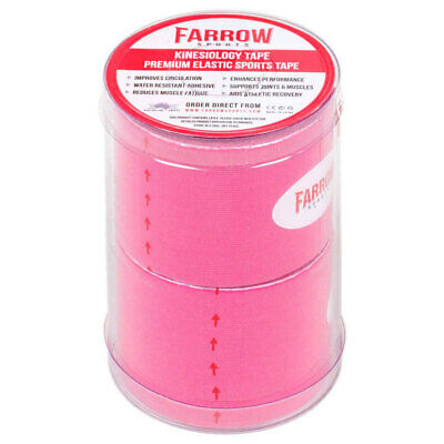 Farrow Sports 2 Rolls Pink Kinesiology Strapping Tape 50mm x 5m Muscle Support