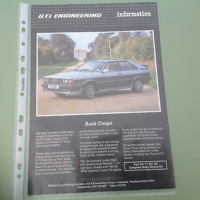 Audi coupe gt ,gti engineering body styling kit leaflet