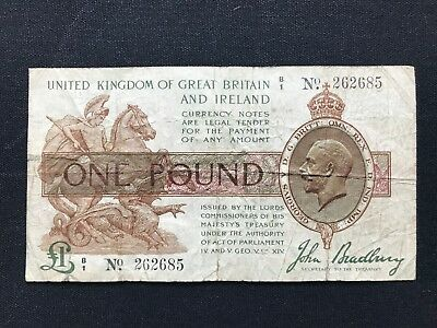 John Bradbury One Pound Treasury Banknote Admiralty Anchor note Ex Rare