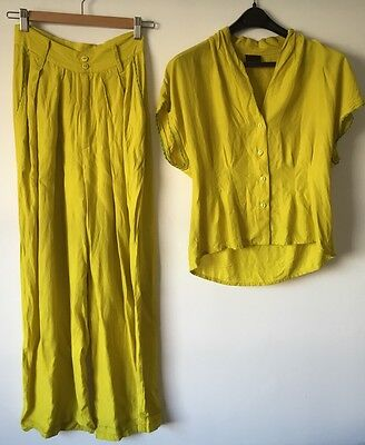1980s Vintage Outfit Lime Green Yellow 2 Piece Wide Leg Pant & Top Ladies Suit S