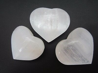 HEART SELENITE Lot of (3) Small Palm Stone Polished Pocket  Worry Morocco 131g