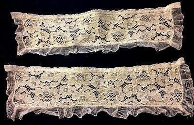 Two Lovely Antique Off-white Cuffs Brussels Bobbin Lace and Veil Lace Trim