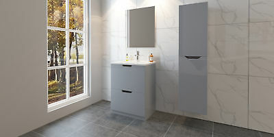 Grey Gloss Basin Sink Bathroom Vanity Unit Furniture Storage Cabinet