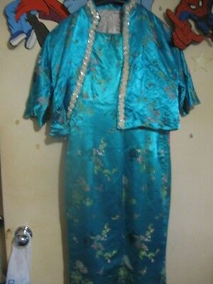Vintage Indonese-Hand-Made Chinoiserie Blue Dress W Jacket Size 8. Made In 1967!