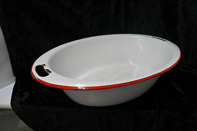 """Antique Enamel Ware Oval Basin White with Red Trim 19 1/2"""" Wide Large"""