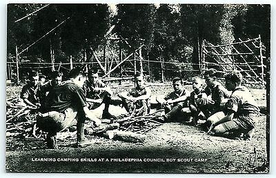 Postcard Boy Scouts BSA Learning Camping Skills Philadelphia Council Camp R01