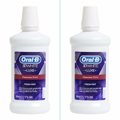 2 x Oral B 3D White Luxe Glamorous Shine Teeth Whitening Mouthwash Rinse (250ml)