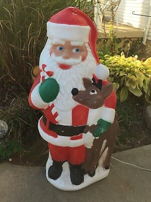 """40"""" TPI Santa Claus With Reindeer Lighted Christmas Blow Mold Outdoor Yard Decor"""