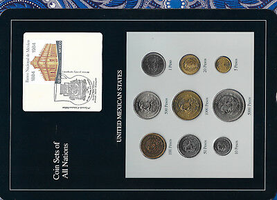 Coin Sets of All Nations Mexico 1987-1990 UNC 50 Pesos 1990 20,1000 Pesos 1989