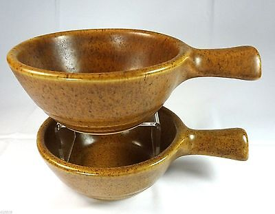 Western Stoneware Open Onion Soup Bowls Handled Brown Speckle Mojave Mojavi 2