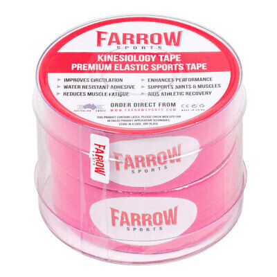 Farrow Sports 2 Rolls Pink Kinesiology Strapping Tape 25mm x 5m Muscle Support