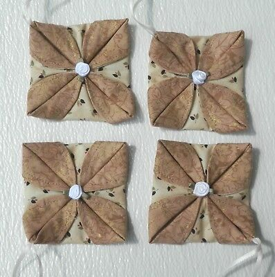 "Set Of 4 Handmade ""Gold/Tan"" Folded Fabric Ornament With White Rose In Center"