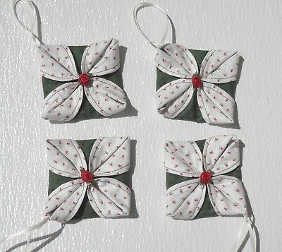 Set Of 4 Handmade Green/White Floral Folded Fabric Ornament With Red Rose Center