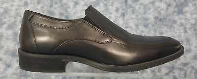 Johnston and Murphy Mens Size 9.5M Black Slip On Apron Toe Leather Loafers