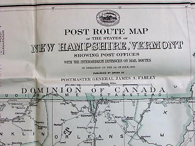 Post Offices Routes New Hampshire Vermont 1933 Huge U.S. government postal map