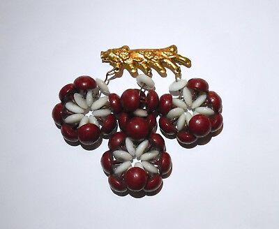 Vintage Unsigned Miriam Haskell? Dangle Brooch Pin Porcelain Glass Wood Button