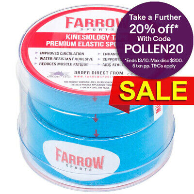 Farrow Sports 2 Rolls Blue Kinesiology Strapping Tape 25mm x 5m Muscle Support