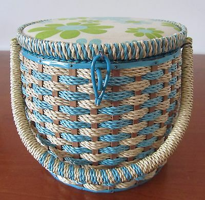 RETRO Vintage SEWING BASKET Wicker/Rattan Tall Round Japan