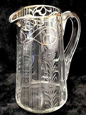 Victorian Edwardian Art Nouveau Flowered Crystal & sterling Silver Pitcher Jug