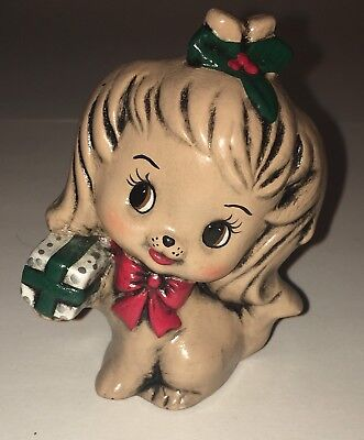 Vintage Christmas Puppy Dog Holiday Figurine Decor w/ Holiday Gift Cute Animal