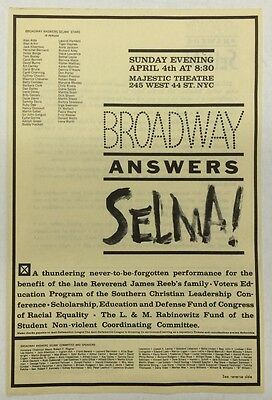 "Rare ""Broadway Answers Selma"" Flier 1965 Barbra Streisand, Sammy Davis, Etc."