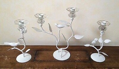 Decorative Iron & Glass Candle Holders with Birds 3 Pc.