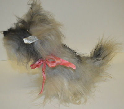 VINTAGE TERRIER DOG PLUSH FURRY GREY BLACK CHARACTER NOVELTY CO STUFFED 1950s