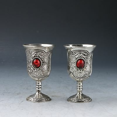Collection A Pair Chinese Tibetan Silver Hand Carved Pattern Pair Goblet /Cups