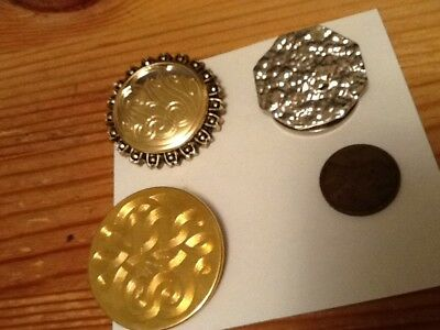 VINTAGE 3pc LOT GOLD & SILVER TONE SCARF CLIPS lot 35