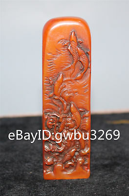 Chinese Shoushan Stone  Hand carved Fish Seal