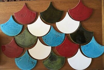 16 assorted fish scale ceramic tiles, mixed glazes,mosaic,art,kitchen