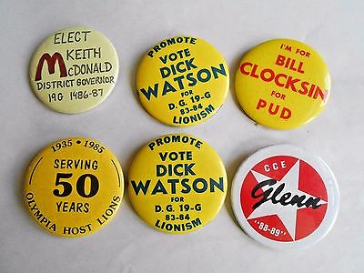 Cool Vintage Lot 6 Lions Club 1980's PInbacks Watson McDonald Clocksin & Glenn