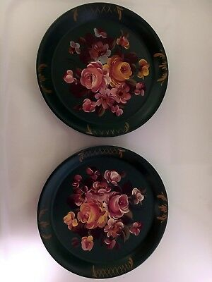 Tole Toleware Tin Tray Trays with pocket Set of 2 Roses Fine Arts Studio Antique
