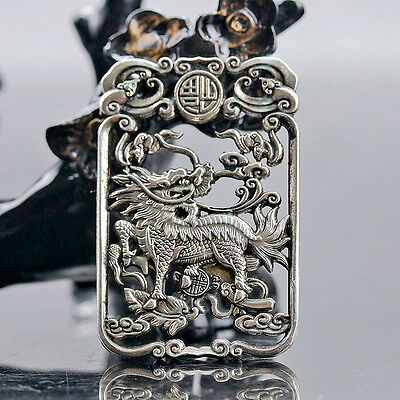 Chinese Collectable Tibet Silver Hand Carved Auspicious Beast (Kylin) Amulet