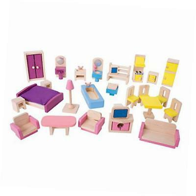 heritage playset wooden doll furniture set - 27 pieces