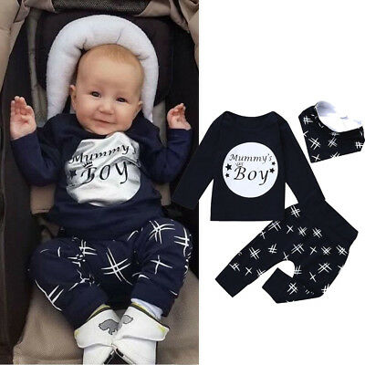 3pcs Toddler Infant Baby Kids Boys Letter Tops+Pants+Bibs Outfits Clothes Set