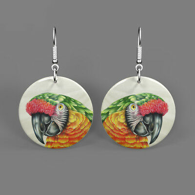 Natural Shell Printed Parrot Bird Earrings Jewelry  Round Drop J1705 0282