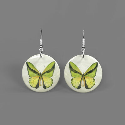 Fashion Earrings Color Printing Butterfly White Shell Round Drop J1705 0315
