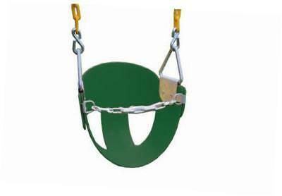 high back half bucket swing with coated chain, green