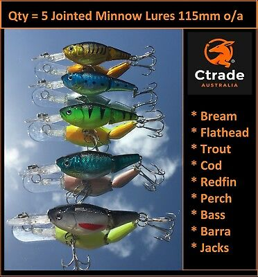 5 x Minnow Jointed Lures Fishing Lure Bream Flathead Barra Trout Murray Cod Lure