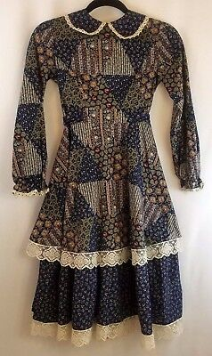 Vintage Womens Dress Small Victorian Prairie Puritan Long Sleeve Country Modest