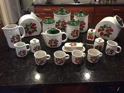 Lot Of Vintage McCoy Canisters, Lids, Butter Tray, Cups, Strawberry
