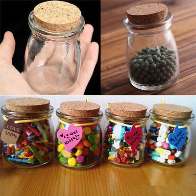 2/5/10Pcs Clear Candy Jam Glass Vial Storage Jars Bottle Container+Cork Stopper