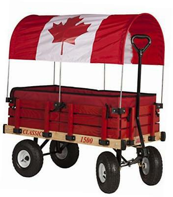 canadian flag canopy wooden wagon