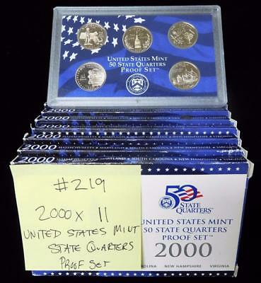 Picker's Delight Box #219 ELEVEN 2000 US Mint State Quarters Proof Sets
