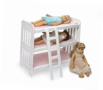 18580 triple doll bunk bed with ladder and pink gingham mats