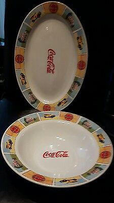 Coca-Cola dinnerware dishes oval platter and bowl by Gibson old fashioned themed