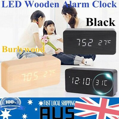 Digital LED Display Wooden Desk Table Clock Temperature Alarm Modern Home Decor