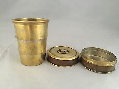 ANTIQUE EDWARDIAN era TELESCOPIC TRAVEL CUP in brass poss Military campaign