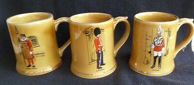 Set THREE Vintage Wade Pottery 450 ml Tankard Mugs British Military / Soldiers